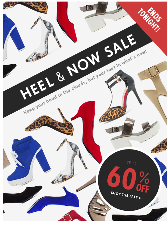 Heel and now sale. Keep your head in the clouds but your feet in what's now!