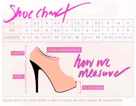 Women's International shoe size conversion chart. U.S., Canada