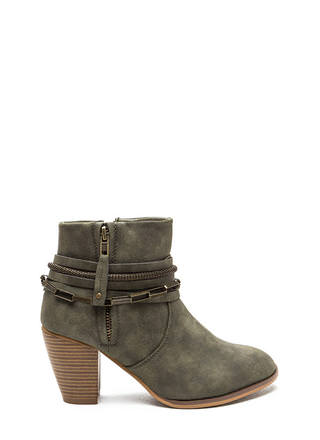 Mixed Chains Faux Leather Booties