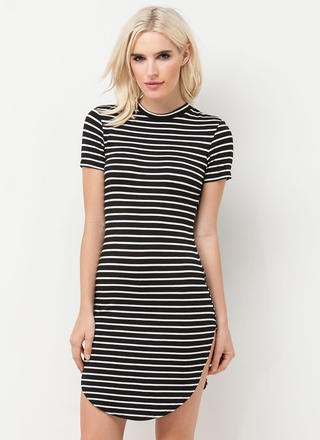In My Lineup Striped Round Hem Dress