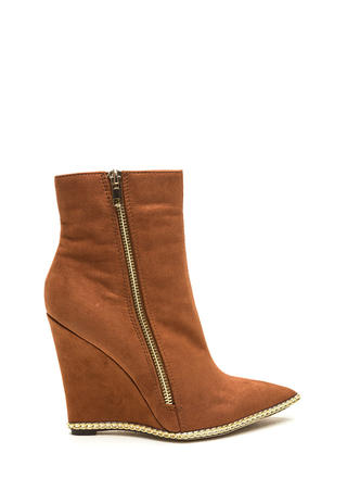No Chain No Gain Wedge Booties