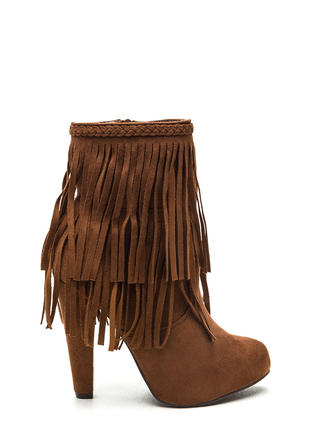 Focus On Fringe Faux Suede Booties