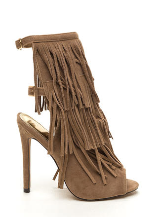 Fringe Frenzy Faux Suede Booties