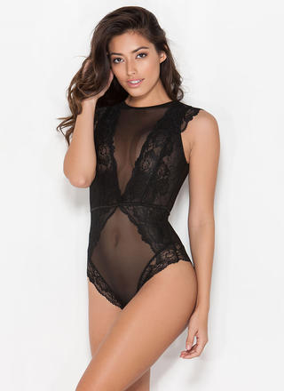 All Night Long Lace 'N Mesh Teddy