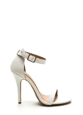 Ready To Single Strap Faux Leather Heels