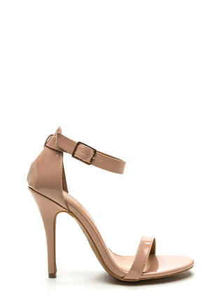 Ready To Single Strap Faux Patent Heels