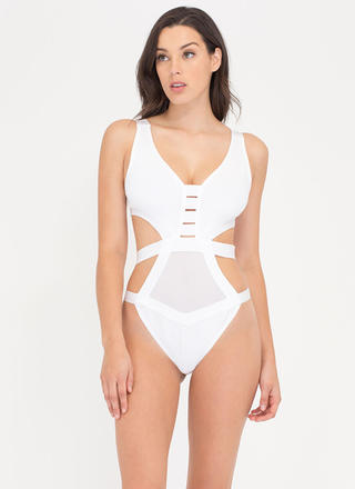 Pretty Sheer One-Piece Bandage Swimsuit