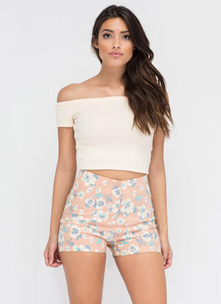 Flipping For Florals High-Waisted Shorts