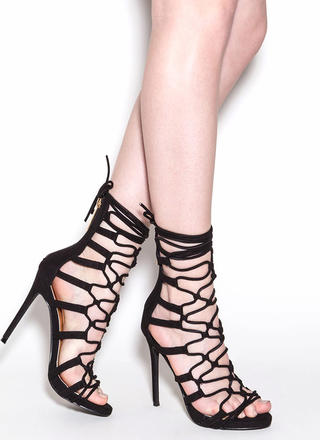 Laced And Loaded Faux Suede Heels