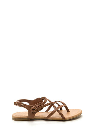 Braided Bliss Strappy Thong Sandals