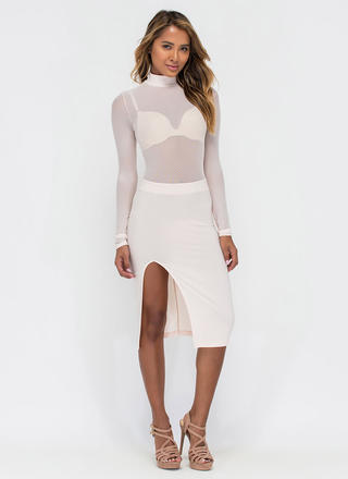 Sheer You Up Slit Mockneck Midi Dress