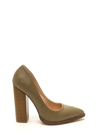 Executive Office Chunky Pointy Toe Heels