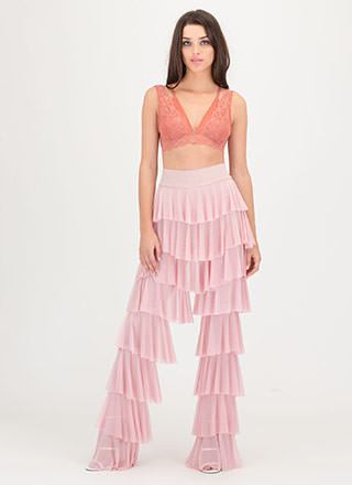Ruffle It Up Tiered Mesh Pants