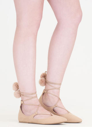 Like A Lady Lace-Up Pom-Pom Flats