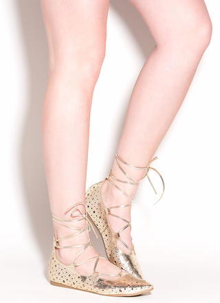 Totally Perf Lace-Up Metallic Flats