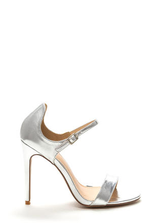 Time 'N Place Strappy Metallic Heels