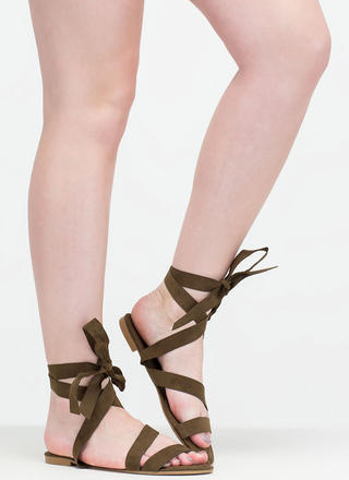 Ties Made Up Faux Suede Sandals
