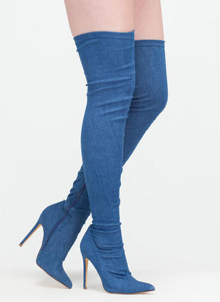Long Story Chic Thigh-High Boots DENIM - GoJane.com