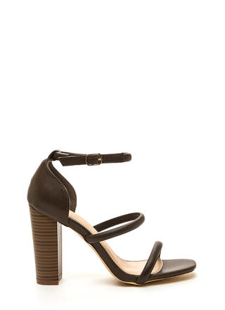 Sleek Step Triple Strap Heels