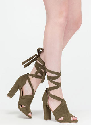 Totally To Tie For Lace-Up Chunky Heels