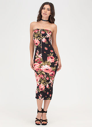 Flower Shop Floral Midi Tube Dress
