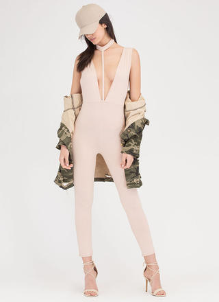 Lead The Way Choker T-Strap Jumpsuit
