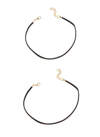 Two Skinny Faux Leather Choker Set