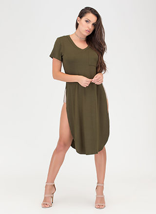 Slit Up Take Notice T-Shirt Midi Dress