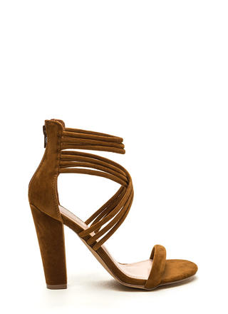 Strappy Camper Faux Suede Chunky Heels