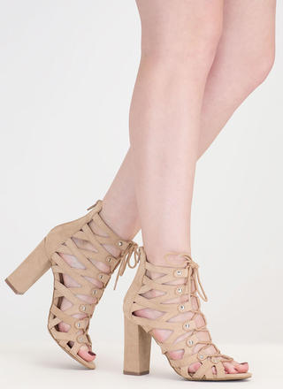 Dreamy Discovery Caged Chunky Heels
