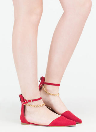 Understated Texture D'Orsay Chain Flats