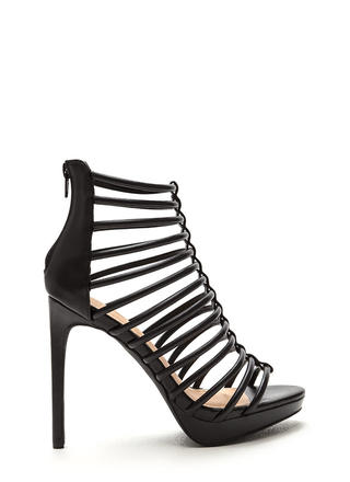 Irresistible Caged Faux Leather Heels