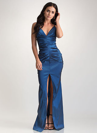 Old Hollywood Glam Taffeta Maxi Dress