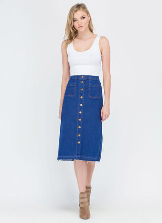 Long Way Buttoned Denim Midi Skirt