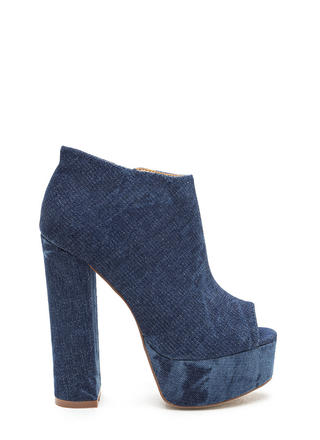 In The City Chunky Denim Booties