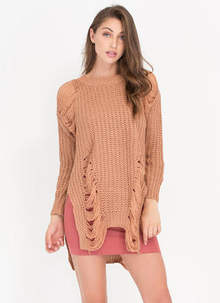 Shred-y To Go Chunky Distressed Sweater