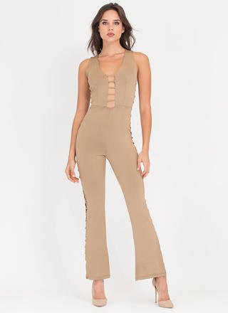 Rung Number Caged Flare Jumpsuit