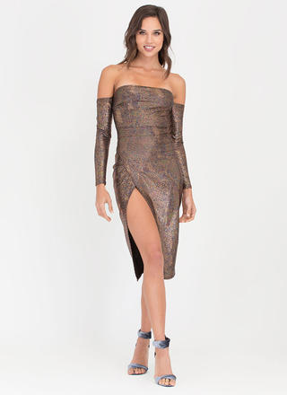 Gleam Team Off-Shoulder Metallic Dress