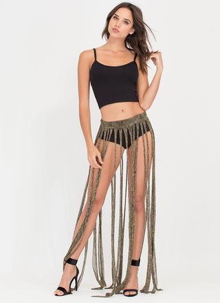 Swept Up Metallic Fringe Maxi Skirt