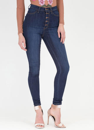 So Fly Button-Up High-Waist Skinny Jeans