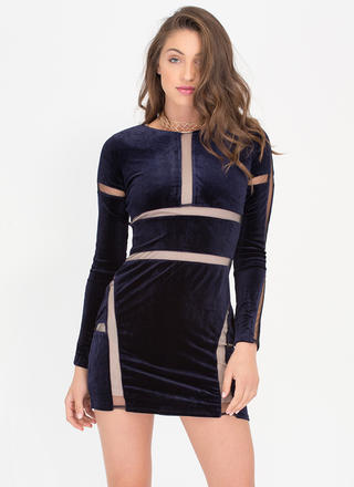 Slip Into This Mesh Inset Velvet Dress