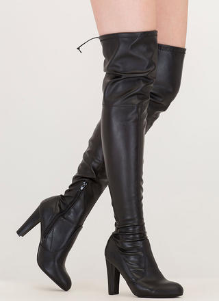 Key To Success Chunky Thigh-High Boots