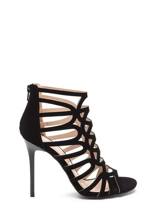 Throw A Curve Caged Faux Nubuck Heels