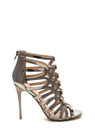 Throw A Curve Caged Metallic Heels