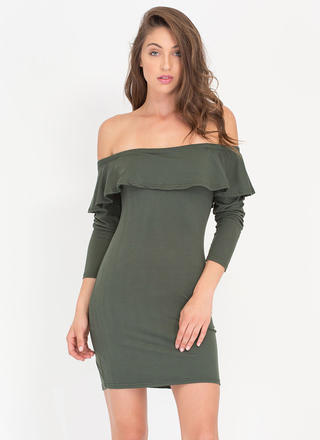 Ruffle Rider Off-The-Shoulder Dress