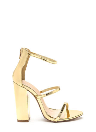 Rule Of Three Chunky Metallic Heels