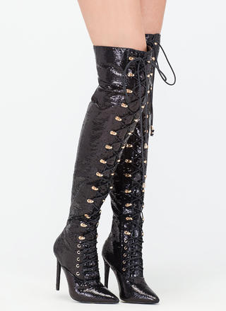 Walk Tall Sequin Thigh-High Boots