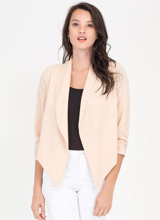Workin' It Ruched Flyaway Blazer