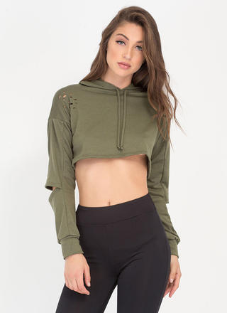 Slit Happens Cropped Cut-Out Hoodie