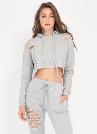 Shred-y Or Not Cropped Hoodie Top